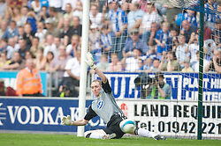 WIGAN, ENGLAND - Sunday, May 11, 2008: Wigan Athletic's goalkeeper Chris Kirkland is beaten by the penalty kick of Manchester United's Cristiano Ronaldo during the final Premiership match of the season at the JJB Stadium. (Photo by David Rawcliffe/Propaganda)