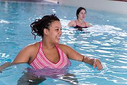 Pregnant women taking part in an Aquanatal class,