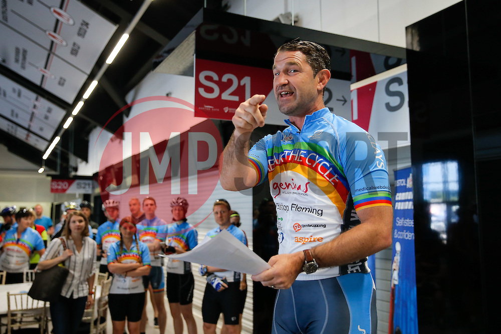 Ben Breeze briefs Cyclists as they take part in Break The Cycle, a 111 mile charity bike ride organised by the Bristol Rugby and Gloucester Rugby Community Foundations - Mandatory byline: Rogan Thomson/JMP - 03/07/2016 - CYCLING - Ashton Gate Stadium - Bristol, England - Break The Cycle Challenge 2016.
