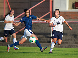 LLANELLI, WALES - Monday, August 19, 2013: England's Katie Zelem in action against France during the Group A match of the UEFA Women's Under-19 Championship Wales 2013 tournament at Stebonheath Park. (Pic by David Rawcliffe/Propaganda)