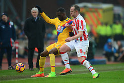 Christian Benteke of Crystal Palace battles for the ball with Charlie Adam of Stoke City - Mandatory by-line: Alex James/JMP - 11/02/2017 - FOOTBALL - Bet365 Stadium - Stoke-on-Trent, England - Stoke City v Crystal Palace - Premier League