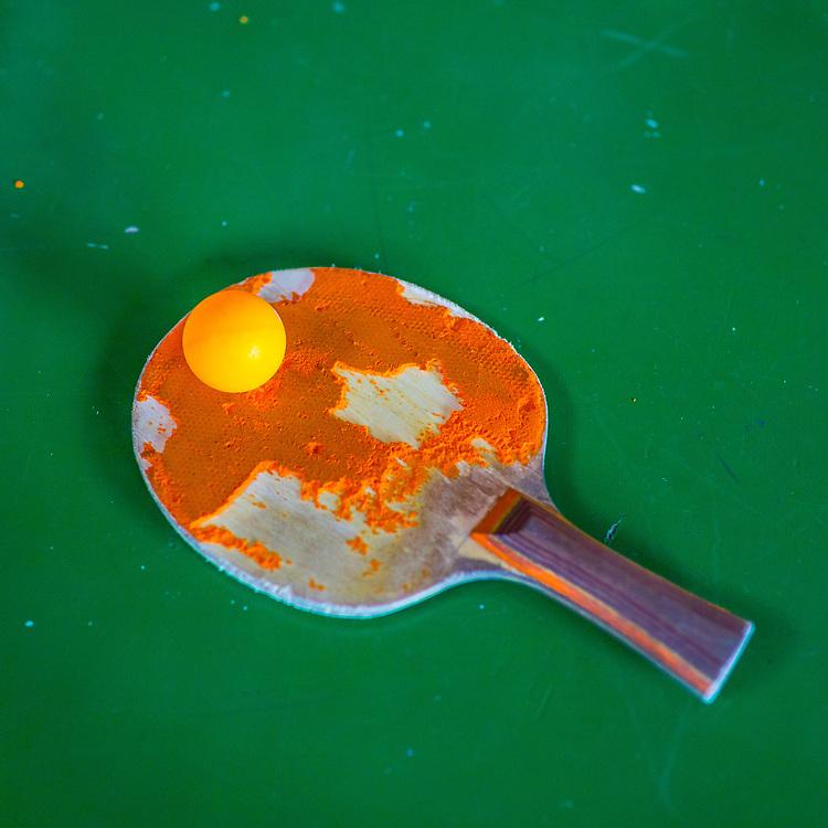 Ping-Pong paddle and ball at Old Man's.