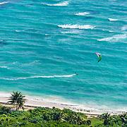 Kite sailing in Akumal, Riviera Maya. Mexico.