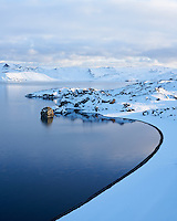 Lake Kleifarvatn in winter, Reykjanes Peninsula, Iceland.