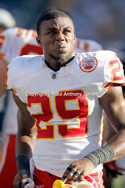 Kansas City Chiefs safety Eric Berry (29) grimaces during a break in the action during the NFL week 14 football game against the San Diego Chargers on Sunday, December 12, 2010 in San Diego, California. The Chargers won the game 31-0. (©Paul Anthony Spinelli)