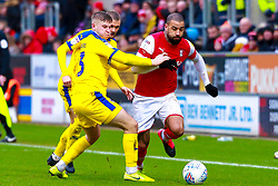 Max Sanders of Wimbledon attempts to pull back Kyle Vassell of Rotherham United - Mandatory by-line: Ryan Crockett/JMP - 15/02/2020 - FOOTBALL - Aesseal New York Stadium - Rotherham, England - Rotherham United v AFC Wimbledon - Sky Bet League One