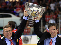 Assistant coach Igor Zakharkin and head coach Vyacheslav Bykov celebrating at  ice-hockey game Canada vs Russia at finals of IIHF WC 2008 in Quebec City,  on May 18, 2008, in Colisee Pepsi, Quebec City, Quebec, Canada. Win of Russia 5:4. (Photo by Vid Ponikvar / Sportal Images)