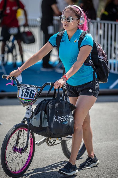 Women Elite #156 (AZUERO Domenica) ECU arriving on race day at the 2018 UCI BMX World Championships in Baku, Azerbaijan.