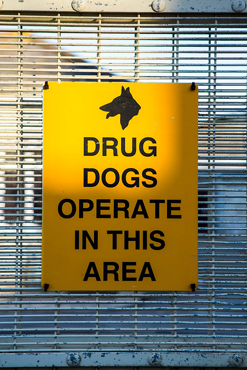 A 'Drug dogs operate in this area' sign inside HMP/YOI Portland, a resettlement prison with a capacity for 530 prisoners. Dorset, United Kingdom.