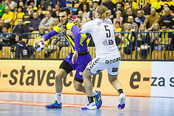 Mackovsek Borut #51 of RK Celje Pivovarna Lasko and Arnarsson Arnar Freyr 5# of IFK Kristianstad during handball match between RK Celje Pivovarna Lasko (SLO) and IFK Kristianstad (SWE) in Group phase of EHF Men's Champions League 2016/17, on February 11, 2017 in Arena Zlatorog, Celje, Slovenia. Photo by Grega Valancic