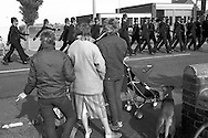 Police in Rossington, 1984 Miners Strike...© Martin Jenkinson, tel 0114 258 6808 mobile 07831 189363 email martin@pressphotos.co.uk. Copyright Designs & Patents Act 1988, moral rights asserted credit required. No part of this photo to be stored, reproduced, manipulated or transmitted to third parties by any means without prior written permission.