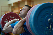 Adrian Zielinski from Poland (Tarpan Mrocza; category 85 kg) during training session two weeks before weightlifting IWF World Championships Wroclaw 2013 at the Olympic Sports Centre in Spala on October 08, 2013.<br /> <br /> Poland, Warsaw, September 16, 2013<br /> <br /> Picture also available in RAW (NEF) or TIFF format on special request.<br /> <br /> For editorial use only. Any commercial or promotional use requires permission.<br /> <br /> Mandatory credit:<br /> Photo by &copy; Adam Nurkiewicz / Mediasport