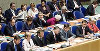 Nederland. Den Haag, 19 september 2007.<br /> Tweede dag algemene politieke beschouwingen in de tweede kamer.<br /> Bos en Balkenende in overleg, vak K, ministers, ministersploeg, bewindslieden.<br /> Foto Martijn Beekman <br /> NIET VOOR TROUW, AD, TELEGRAAF, NRC EN HET PAROOL