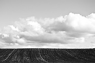 Tilled agricultural fields near Mansfield, Washington in Black and White.