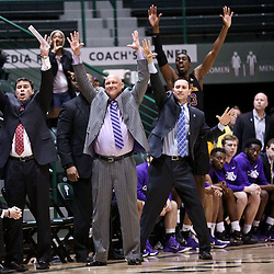 Feb 24, 2016; New Orleans, LA, USA; East Carolina Pirates head coach Jeff Lebo and his coaching staff signal from the bench during the second half of a game against the Tulane Green Wave at the Devlin Fieldhouse. East Carolina defeated Tulane 79-73. Mandatory Credit: Derick E. Hingle-USA TODAY Sports