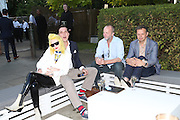 PAM HOGG; JOHNNIE SHAND KYDD; TOM DIXON, 2014 Serpentine's summer party sponsored by Brioni.with a pavilion designed this year by Chilean architect Smiljan Radic  Kensington Gdns. London. 1July 2014