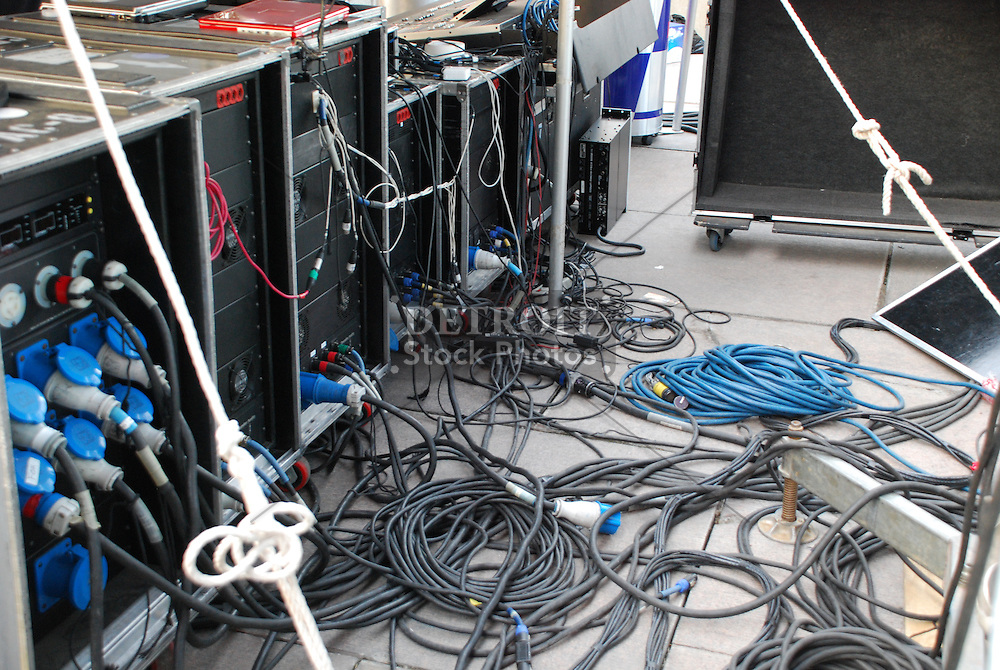 Power amps and speakers cables at the Red Bull Academy Stage at Movement 2008 (Detroit Electronic Music Festival).