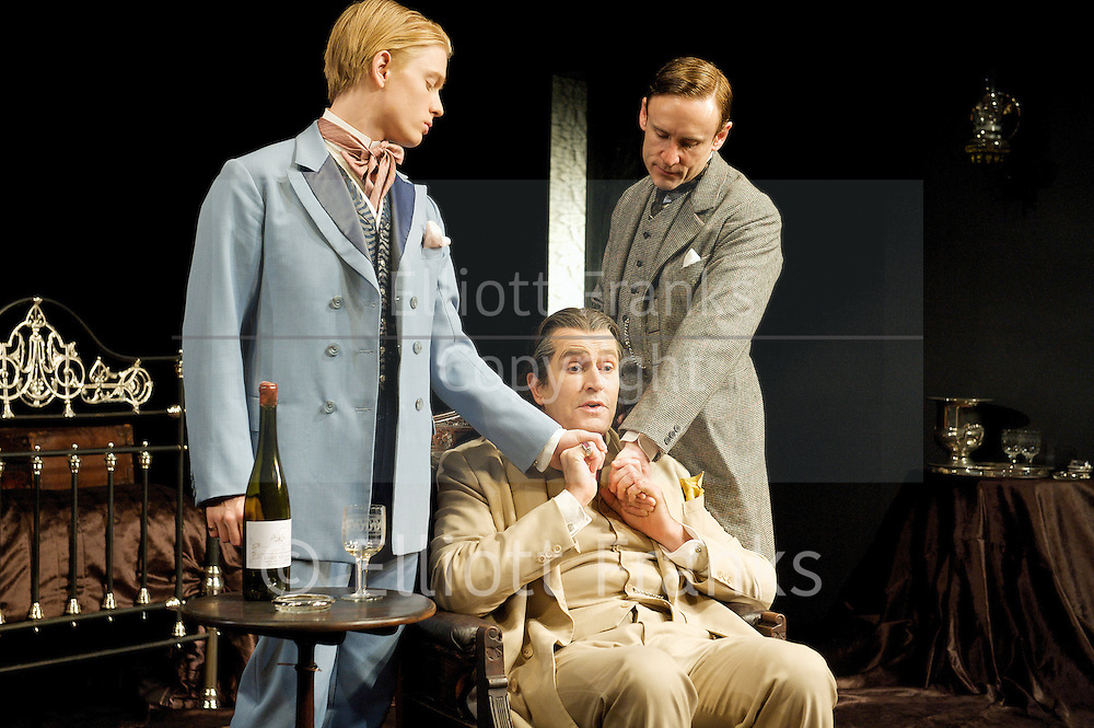 The Judas Kiss<br /> by David Hare<br /> directed Neil Armfield<br /> <br /> at The Hampstead Theatre<br /> London, Great Britain <br /> <br /> Press photocall<br /> <br /> 11th September 2012 <br /> <br /> Freddie Fox as Bosie<br /> <br /> Rupert Everett as Oscar Wilde<br /> <br /> Cal Macaninch as Robbie Ross<br /> <br /> <br /> Photograph by Elliott Franks