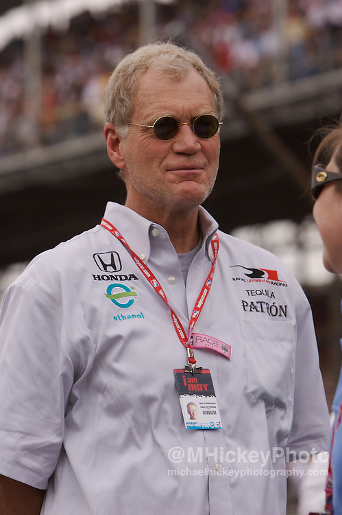 Indy car team owner and television talk show host David Letterman seen on the grid before the start of the Indy 500 in Indianapolis, Indiana. Photo by Michael Hickey
