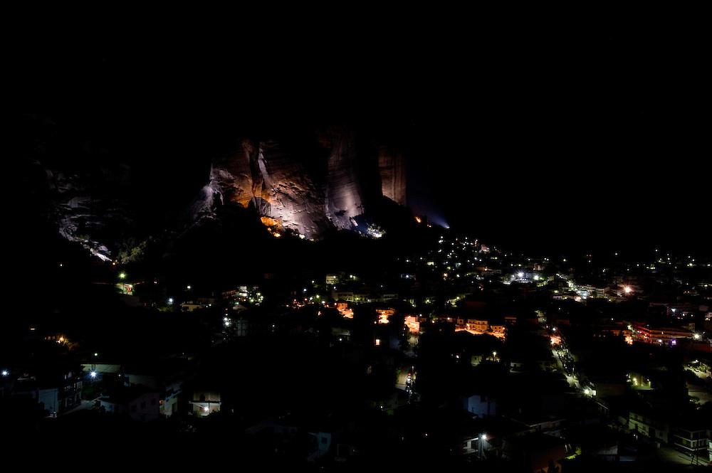 Greece, Meteora, Kalampaka Town in night