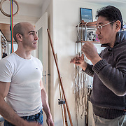 British instructor Edward Hines discusses Bagua techniques at his home with Taiwanese master and teacher Luo DeXiu who specializes in the internal Chinese styles of Xingyiquan, Baguazhang, and Taijiquan.