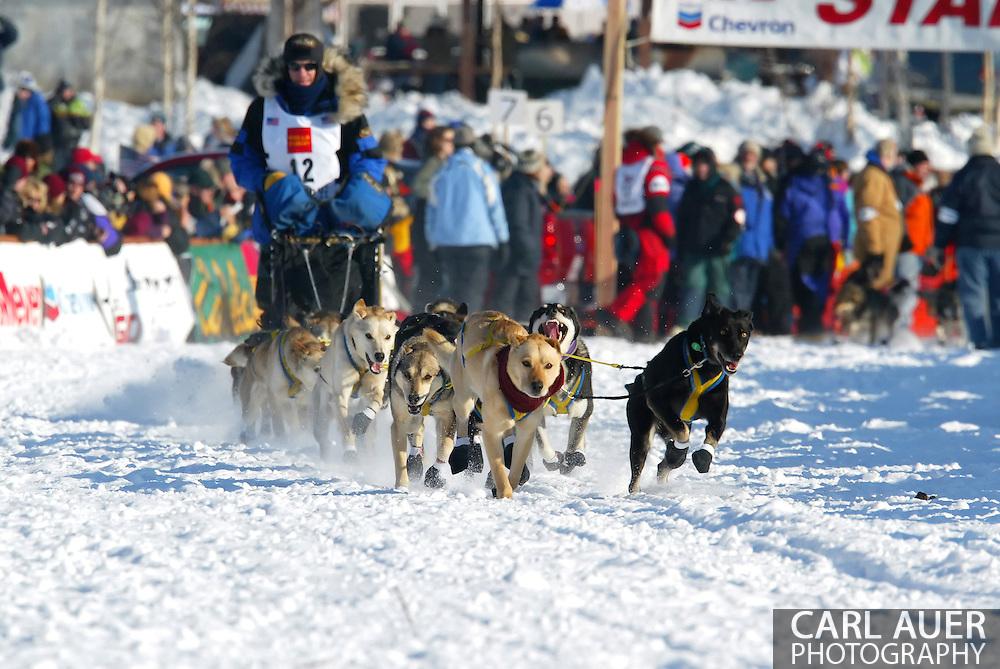 3/4/2007:  Willow, Alaska -  Veteran Hans Gatt of Atlin, BC Canada at the start of the 35th Iditarod Sled Dog Race