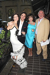 Left to right, SACHA & ANGELA NEWLEY, JOAN COLLINS and CHRISTOPHER BIGGINS at a private view of work by Sacha Newley entitled 'Blessed Curse' in association with the Catto Gallery held at the Arts Club, Dover Street, London W1 on 2nd July 2008.<br />
