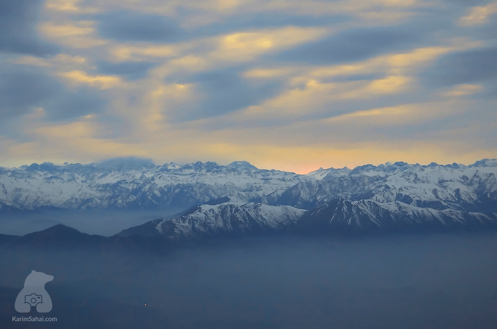 Sunrise over The Andes mountain range, near Santiago, Chile.