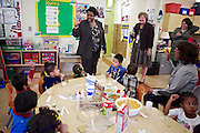 D.C. Public Schools Chancellor Kaya Henderson talks to preschool students at Truesdell Education Campus on Friday, Nov. 16, 2012 in Washington, D.C. Henderson recently announced that she plans to close 20 under-enrolled schools across the district. CREDIT: Lexey Swall for The Wall Street Journal
