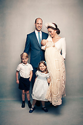 OFFICIAL PORTRAIT OF THE  CHRISTENING OF PRINCE LOUIS.   OBLIGATORY CREDIT LINE: PHOTO MATT HOLYOAK/CAMERA PRESS.<br /> Official portrait taken  at Clarence House, following the christening of Prince Louis at St James's Chapel  The Duke and Duchess of Cambridge, Prince George, Princess Charlotte and Prince Louis.<br /> THIS PHOTOGRAPH IS PROVIDED FOR FREE NEWS USAGE IN CONNECTION WITH PRINCE LOUIS'S CHRISTENING UNTIL JULY 29TH 2018 . AFTER WHICH IT MUST BE REMOVED FROM ALL YOUR SYSTEMS. USAGE RIGHTS ARE STRICTLY EDITORIAL NEWS ONLY, NO COMMERCIAL, SOUVENIR OR PROMOTIONAL USE PERMITTED. MAGAZINE COVER USAGES REQUIRE APPROVAL. THE PHOTOGRAPH CANNOT BE CROPPED, MANIPULATED OR ALTERED IN ANY WAY.
