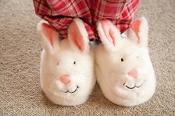 North America, United States, Washington, Crystal Mountain, fuzzy rabbit slippers