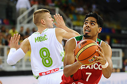 Edo Muric of Slovenia vs Jorge Gutierrez of Mexico  during basketball match between National Teams of Slovenia and Mexico in Round 2 of Group D of FIBA Basketball World Cup Spain 2014, on August 31, 2014 in Gran Canaria Arena, Las Palmas, Canary Islands. Photo by Tom Luksys  / Sportida.com <br /> ONLY FOR Slovenia, France