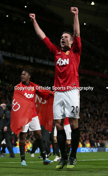 22nd April 2013 - Barclays Premier League - Manchester United v Aston Villa - Robin van Persie of Man Utd celebrates winning the title - Photo: Simon Stacpoole / Offside.
