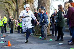 © Licensed to London News Pictures. 28/02/2017. London, UK. STEVE POUND MP races against Lords and members of media at the annual Rehab Parliamentary Pancake Race outside the Parliament on Shrove Tuesday, 28 February 2017. Photo credit: Tolga Akmen/LNP