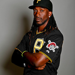 February 17, 2013; Bradenton, FL, USA;  Pittsburgh Pirates center fielder Andrew McCutchen (22) poses for photo day at Pirate City.  Mandatory Credit: Derick E. Hingle-USA TODAY Sports
