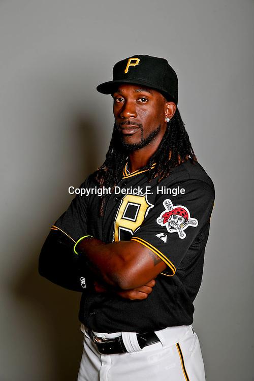 February 17, 2013; Bradenton, FL, USA;  Pittsburgh Pirates center fielder Andrew McCutchen (22) poses for photo day at Pirate City.  Mandatory Credit: Derick E. Hingle-USA TODAY Sports