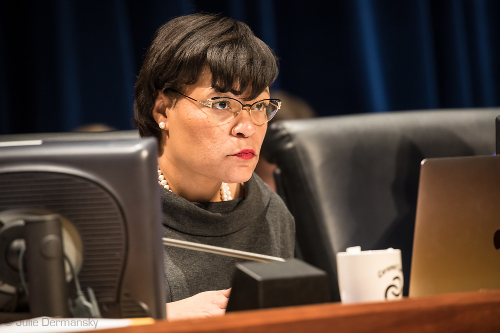 Mayor-elect and current Councilmember Latoya Cantrell  explaining her  'Yes' vote on Entergy's proposed natural gas power plant in New Orleans East at a New Orleans City Council meeting. The city voted to approve Entergy's project despite a lot of opposition. The City Council is now facing lawsuits over its decision.