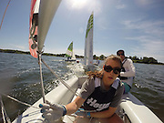 Jun 2, 2014; St. Mary's City, MD, USA; The Yale Bulldogs win the APS Team Inter-Collegiate Sailing Association National Championship held at the College of St. Mary's in St. Mary's City, MD. Photo taken by a GoPro mast remote located a few inches down from the boom arm. Mandatory Credit: Brian Schneider/www.ebrianschneider.com
