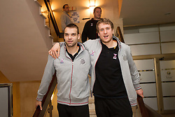 Matjaz Brumen and David Miklavcic of Slovenia Men Handball team during 3rd day of 10th EHF European Handball Championship Serbia 2012, on January 17, 2012 in Hotel Srbija, Vrsac, Serbia.  (Photo By Vid Ponikvar / Sportida.com)