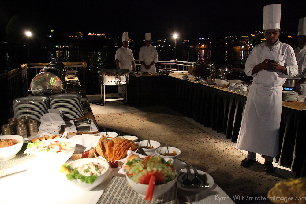 Asia, India, Udaipur. Catered dinner during Gangaur Cruise on Lake Pichola.