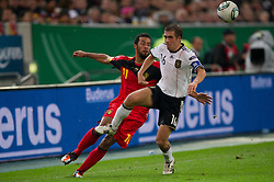 11.10.2011, Esprit Arena, Duesseldorf, GER, UEFA EURO 2012 Qualifikation, Deutschland (GER) vs Belgien (BEL), im Bild Zweikampf Mousa Dembele (#11 BEL) - Philipp Lahm (#16 GER, Bayern Muenchen) // during the UEFA Euro 2012 qualifying round Germany vs Belgium  at Esprit Arena, Duesseldorf 2011-10-11 EXPA Pictures © 2011, PhotoCredit: EXPA/ nph/  Kurth       ****** out of GER / CRO  / BEL ******