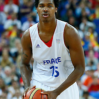 08 August 2012: France Mickael Gelabale looks to pass the ball during 66-59 Team Spain victory over Team France, during the men's basketball quarter-finals, at the 02 Arena, in London, Great Britain.
