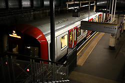 UK ENGLAND LONDON 26MAR14 - Hammersmith & Ciy line train at Edgware Road station, Paddington, central London.<br /> <br /> jre/Photo by Jiri Rezac<br /> <br /> © Jiri Rezac 2014