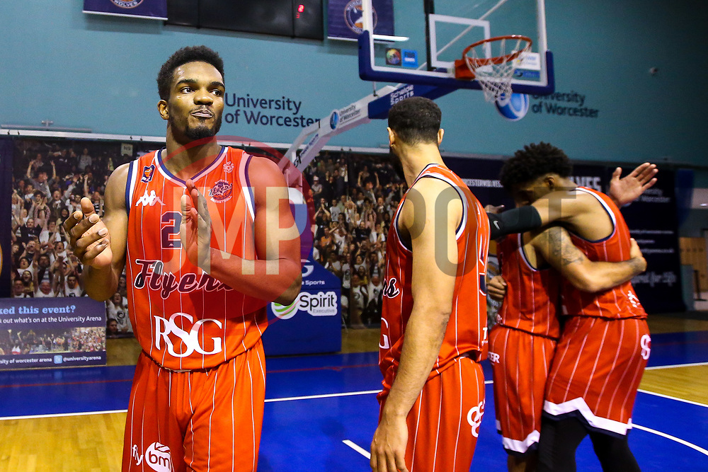 Bristol Flyers celebrate beating Worcester Wolves - Mandatory by-line: Robbie Stephenson/JMP - 05/10/2018 - BASKETBALL - University of Worcester Arena - Worcester, England - Bristol Flyers v Worcester Wolves - British Basketball League