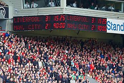 13.04.2014, Anfield, Liverpool, ENG, Premier League, FC Liverpool vs Manchester City, 34. Runde, im Bild Liverpool's scoreboard records the 3-2 victory over Manchester City // during the English Premier League 34th round match between Liverpool FC and Manchester City at Anfield in Liverpool, Great Britain on 2014/04/13. EXPA Pictures &copy; 2014, PhotoCredit: EXPA/ Propagandaphoto/ David Rawcliffe<br /> <br /> *****ATTENTION - OUT of ENG, GBR*****