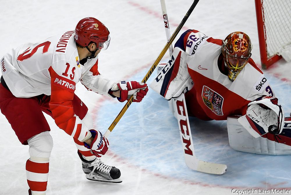 DK caption:<br /> 20180510, K&oslash;benhavn, Danmark.<br /> IIHF Verdensmesterskabet i Ishockey. <br /> Gruppe A: Tjekkiet-Rusland. Keeper David Rittich of Chech Republic in action against Artyom Anisimov of Russia<br /> Foto: Lars M&oslash;ller<br /> UK Caption:<br /> 20180510, Copenhagen, Denmark.<br /> IIHF Ice Hockey World Championship. <br /> Group A: Chech Republic-Russia. Keeper David Rittich of Chech Republic in action against Artyom Anisimov of Russia<br /> Photo: Lars Moeller