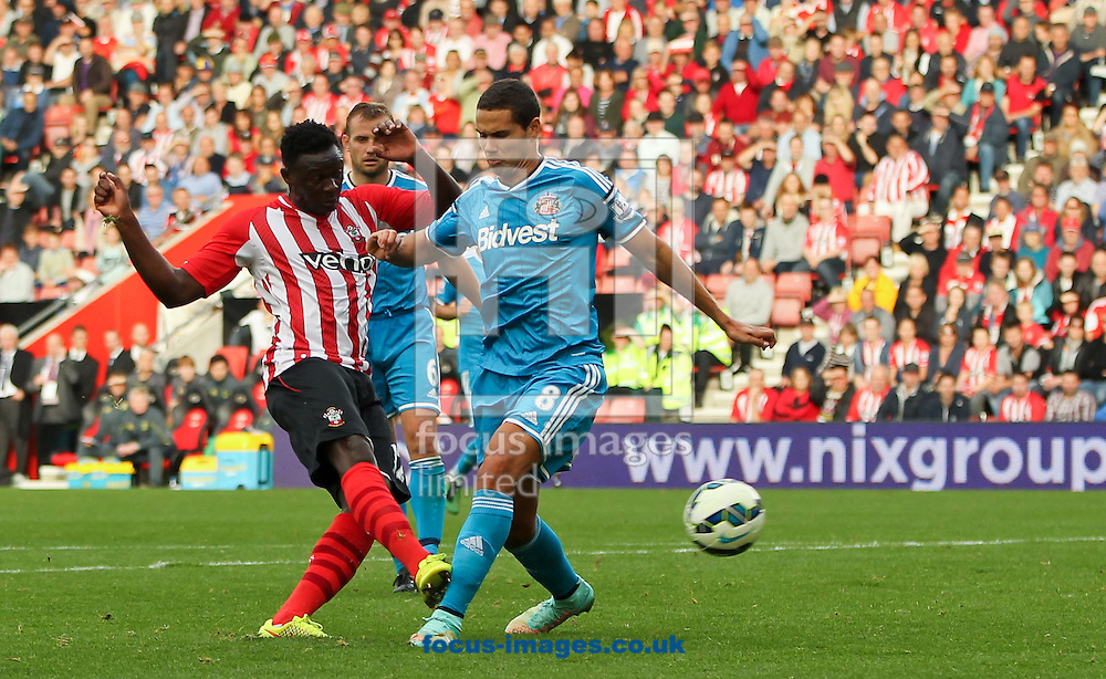 Victor Wanyama (left) of Southampton scores his sides seventh goal during the Barclays Premier League match at the St Mary's Stadium, Southampton<br /> Picture by Tom Smith/Focus Images Ltd 07545141164<br /> 18/10/2014