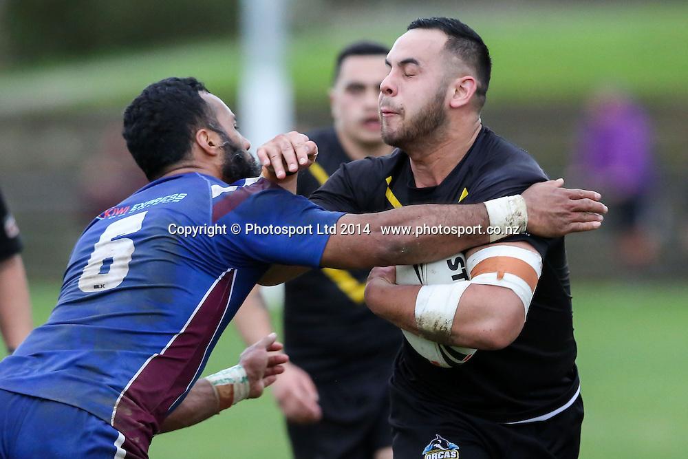 Wellington's Michael O'Brien during  NZRL Pirtek National Premiership Rugby League match, Akarana Falcons v Wellington Orcas at Ellerslie Domain, Ellerslie, Auckland, New Zealand. Saturday  13 September 2014.