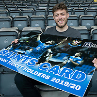 St Johnstone's Murray Davidson and the saints card promo<br />Picture by Graeme Hart.<br />Copyright Perthshire Picture Agency<br />Tel: 01738 623350  Mobile: 07990 594431