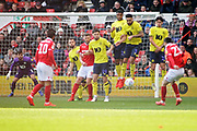 Nottingham Forest forward Joe Lolley (23) free kick creeps under the Blackburn wall during the EFL Sky Bet Championship match between Nottingham Forest and Blackburn Rovers at the City Ground, Nottingham, England on 13 April 2019.